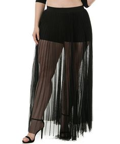 Look what I found on #zulily! Black Sheer Pleat Maxi Skirt - Plus #zulilyfinds