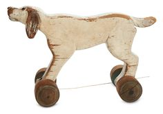 View Catalog Item - Theriault's Antique Doll Auctions Lot: 132. American Folk Art Carved Wooden Pull-Toy Dog