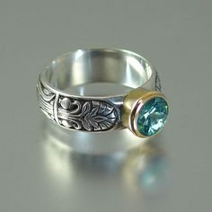 ALEXANDRIA ring in silver and 14K gold with Blue by WingedLion