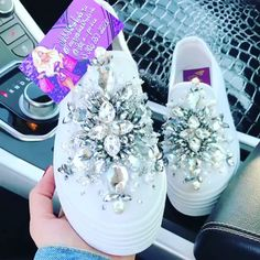 Silver crystal embellished white loafers [Video] in 2020 Bedazzled Shoes, Bling Shoes, Bling Converse, Rhinestone Shoes, Diy Fashion Videos, Diy Videos, Bridal Shoes, Wedding Shoes, Shoe Makeover