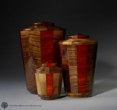 """http://www.steveshannoncollection.com/eternal-promise-urn-trinity.html $225-$405 Free Shipping. """"Trinity"""" cremation urn for ashes is made of Black Walnut and Padauk woods.  Sizes include large adult funeral urn, small and keepsake for pet memorials."""