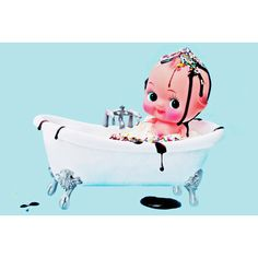 bathroom decor kewpie doll 8 x 12 MY SUNDAE BATH by boopsiedaisy