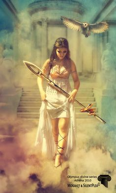 Athena _ Greek. Virgin goddess of war and wisdom, patroness of goldsmithing, she gave fire to humanity.