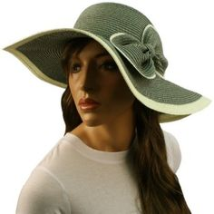 edec8ca7 50+ UPF Ribbon Bow Beach Summer Braid Wide Brim Floppy Sun Hat Cap Gray  57cm SK Hat shop. $19.95
