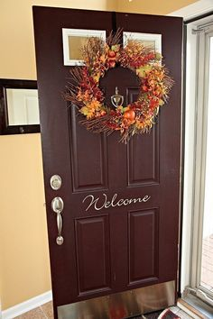 Need to redo front door in spring!   Welcome Front Door Decal by LeenTheGraphicsQueen on Etsy, $8.00