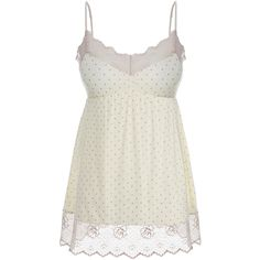 Eberjey Dolores Ivory Lace and Jersey Cami (£29) ❤ liked on Polyvore featuring intimates, camis, tops, cream, lace trim cami, print cami, polka dot cami, lace trim camisole and ivory camisole
