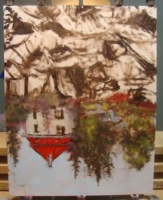 Painting Upside Down - ArtistDaily. Further along with Within the Rocks and Woods 14 x 11, oil painting by Bill Guffey.