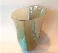 "Fused Glass Drop Ring Vessel. www.studio-gee.net  Ocean blues and creams. 5"""