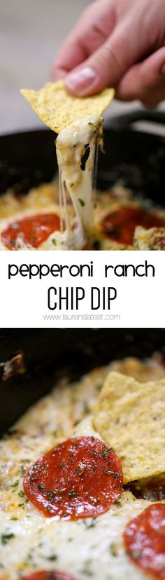 Pepperoni Ranch Chip Dip is the perfect cheese-inspired appetizer for any party! It's a hot, bubbly, pepperoni-ranch party in your mouth and it tastes amazing!