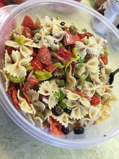 My Favorite Pasta Salad  1/2 lb Bow Tie Pasta 1/2 Red Onion, diced 1 Green Pepper 1/2 Cup Green Olives 1/2 Cup Black Olives 1 pkg Pepperoni 1/4 Cup Pepperoncini  Newman's Own Italian Dressing. (As much or as little as you want)