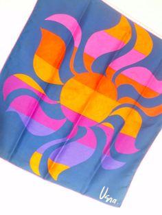 Vera Paints the Blaze of India - a rare vintage 1969 Vera Neumann Op-Art Silk Scarf - as seen in Vogue Magazine in 1969.
