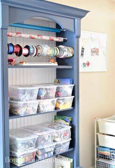 $100 Craft & Sewing Room Makeover   DIY Home Decor   Budget Decorating   Blue Bookcase   $100 Room Challenge
