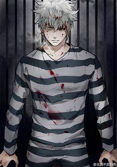 Tags: Anime, Feiqiuxuan, Gin Tama, Sakata Gintoki, Jail, Prison Outfit, Text: Mangaka Name