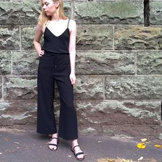 Soph wearing easy silk cami, beautifully cut crepe pant & tout noir sandals...summer black! All available in store. #summer #bloodorange #sydney