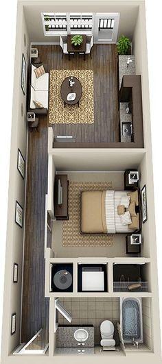 55 Trendy Ideas For House Design Ideas Floor Plans Studio Apartments Studio Apartment Design, Studio Apartments, Apartment Layout, Small Apartments, Apartment Entrance, Apartment Living, Apartment Interior, Living Rooms, Tiny House Design