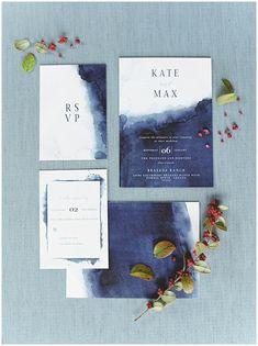 watercolor navy indigo and white wedding invitations