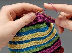 Knitting with beads - placing a bead using a slip stitch.
