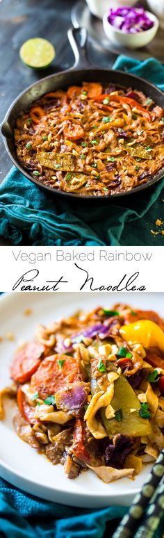 Vegan Pasta Bake with Rainbow Thai Peanut Noodles - Tofu noodles, fresh veggies and a creamy, Thai peanut curry sauce make this easy, meatless, weeknight-friendly meal that is under 200 calories! | Foodfaithfitness.com | @FoodFaithFit