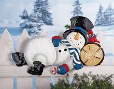 Sleeping Snowman Fence Topper