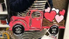 This Build-A-Cross Painted Valentine Truck tutorial is a step by step guide to paint this adorable door hanger! Cross Door Hangers, Wooden Door Hangers, Wooden Doors, Wooden Cutouts, Wooden Shapes, Valentine Decorations, Valentine Crafts, Valentine Shirts, Door Hanger Printing