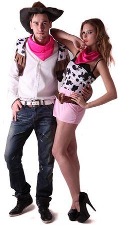 Disfarce de casal cowboy: Este disfarce de casal cowboy é composto por um disfarce para mulher e um disfarce para homem. O disfarce para mulher é composto por uma túnica da cor da pele de vaca branca... Cowgirls, Bandanas, Unisex, Costumes, Couples, Boys, Inspiration, Ideas Para, Style