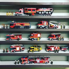 The fire truck shelf continues to grow. Lego City, Lego Coast Guard, Lego Police Station, Lego Truck, Lego Boards, Lego Pictures, Lego Modular, Cool Lego Creations, Building For Kids