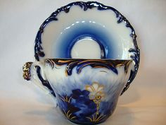 Exquisite Flow Blue German Porcelain Cup and Saucer ~ Raised Gold Outlined Flowers ~ REINHOLD SCHLEGELMILCH ~ R.S. PRUSSIA, Suhl, Prussia - ...