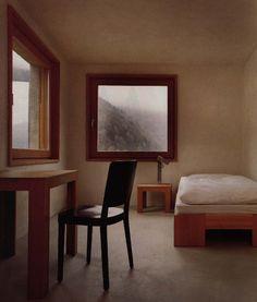 Architects: Miller&Maranta Location: Castasegna, Switzerland Year: 2004 Photographs: via Villa Garbald Minimalist Decor, Small Spaces, Dining Chairs, Villa, Zacchaeus, Bedroom, Architecture, Fall Forward, House