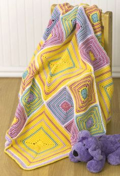 "Free pattern for ""Circles, Stripes & Squares Blanket""!"