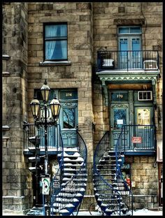 City of Montreal: Quebec: Canada Lovely, curving stairs form an inviting entry to an old building. Amazing Architecture, Architecture Design, Montreal Architecture, Beautiful Buildings, Beautiful Places, Beautiful Stairs, Beautiful Homes, Beautiful Pictures, Montreal Ville