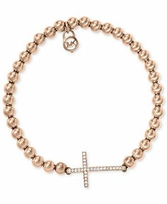 Michael Kors Bracelet, Rose Gold-Tone Bead Crystal Cross Stretch Bracelet