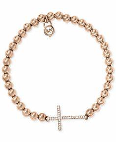 Michael Kors Bracelet, Rose Gold-Tone Bead Crystal Cross Stretch Bracelet