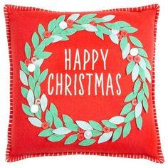 Debenhams Red Happy Christmas Cushion Debenhams ($24) ❤ liked on Polyvore featuring home, home decor, holiday decorations, xmas wreaths, red home accessories, felt wreath, christmas home decor and red home decor