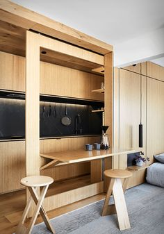 The Richmond Apartment is a great example of how adaptable layouts and multipurpose furniture can be used to make life in a micro-apartment way more pleasant. Micro Apartment, Small Apartment Design, Tiny Apartments, One Bedroom Apartment, Apartment Living, Studio Apartment, Studio Type Condo Ideas Small Spaces, Living Rooms, Small Apartment Furniture