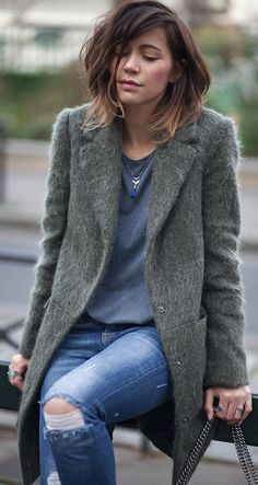#fall #outfits #fashion Fluffy coat + jeans + Zoé Alalouch + overcoat + navy tee + distressed denim jeans  Coat/Heels: Asos, Top: H&M, Jeans: Zara, Bag: Gucci.