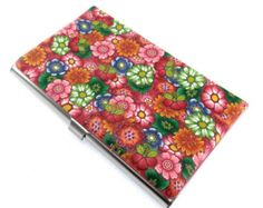Polymer Clay Business Card  Case Flower Design
