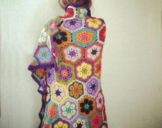 "Items similar to Crochet blanket, ""Honey"". on Etsy Crochet Poncho, Crochet Blankets, African Flowers, Poncho Sweater, Boho, High Neck Dress, Etsy, Pattern, Sweaters"