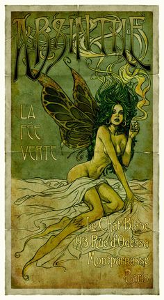 The Absinthe Fairy poster by Alphonse Mucha. Absinthe became very popular especially with artists and writers although it did cause hallucinogenics. Alphonse Mucha, Art And Illustration, Fantasy Kunst, Fantasy Art, Fantasy Fairies, Absinthe Fairy, Illustrator, Jugendstil Design, Kunst Poster