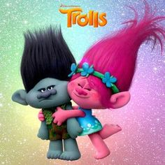 Trolls Movie Twins Satin Chenille Birthday Card A5 Personalised with own words