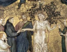 """""""Allegory of Poverty"""" by Giotto (di Bondone), ca. Here, Giotto represents… Francis Of Assisi, St Francis, Italian Painters, Italian Artist, Renaissance Kunst, San Francisco, Fra Angelico, Siena, Early Middle Ages"""