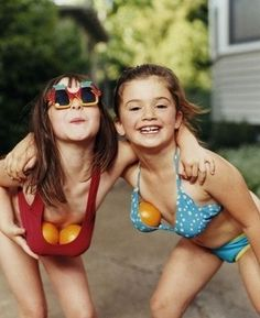 Every girl has done it. When we were little my cousin and I used water balloons. :)
