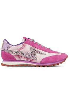 Marc Jacobs - Astor Embellished Printed Canvas, Leather And Suede Sneakers - Fuchsia - IT40