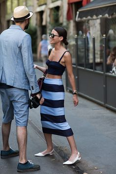 On The Street….Viale Piave, Milan - abs like this can do a crop top.  Photo by The Sartorialist.