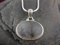 Dendritic Agate Sterling Silver Necklace
