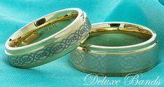 Gold Plated Celtic Knot Cobalt Wedding Bands,Mens Cobalt Band,Womens Cobalt Ring,8mm,6mm,Celtic Knot Cobalt Couple Ring,Cobalt Wedding Set