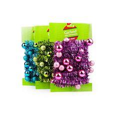 Love these colors! #BigLots  15' Mini Trim Tinsel Christmas Garland with Ornaments at Big Lots.
