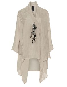 Igor Dobranic Linen tunic with brooch in Beige