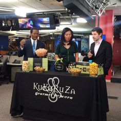 KuKuRuZa Gourmet Popcorn stopped by for an appearance on First News at 4.  The samples looked delicious!  Why try just one bite when you can take the whole bowl - right Steve Pool?!