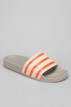 adidas Adilette Slip-On Sandal- also for Dave! Adidas Slides Outfit, Adidas Sandals, Men's Sandals, Flats, Super Fly, Sock Shoes, Art Direction, Sliders, Adidas Originals