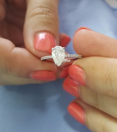 1 Carat E SI2 Pear Shape Natural Diamond Engagement Ring 14K White Gold CT New in Jewelry & Watches, Engagement & Wedding, Engagement Rings | eBay